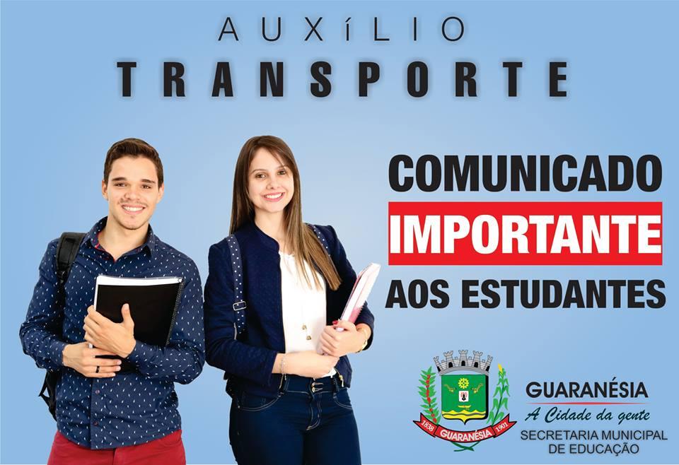 LIBERADO O PAGAMENTO DO AUXÍLIO TRANSPORTE DOS ESTUDANTES
